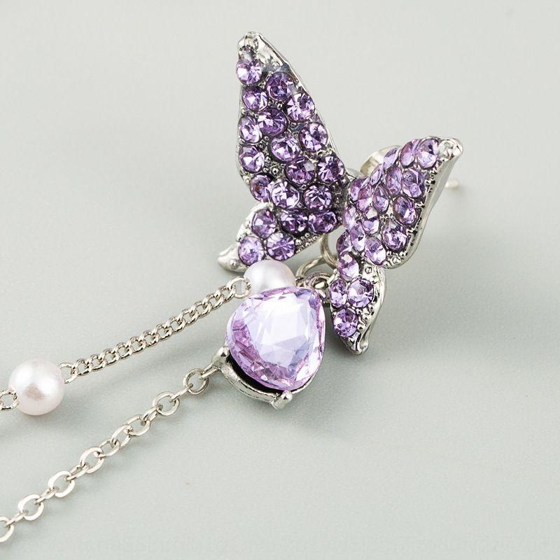 kelebek Kristal gümüş iğne kadınların gelişmiş S925 mor / renkli dXGF1 flaş elmas uzun püskül iki aşınma kelebek Cr 0Ap6t abartılı