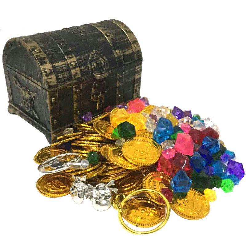 Сокровище монеты капитан пиратская вечеринка пиратский сокровище сундук детское сокровище грудь золотая монетка игрушка