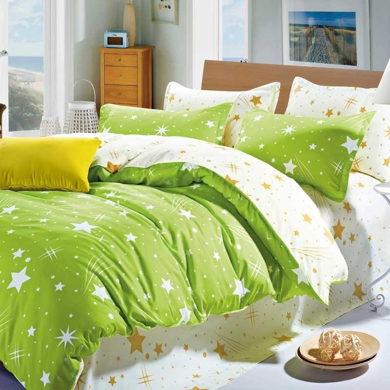 Зеленые постельные принадлежности для кожи, дружественные хлопчатобумажные листы кровати Крышка Кровать Кинг-размер Метеор Душ и снежинки постельное белье.