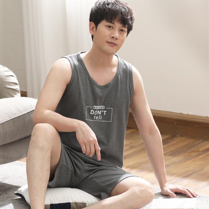 gNFUe f8rOF Лето пижамы домашней одежды жилет шорты жилет шорты мужские корейский стиль хлопка рукавов тонкий молодежи хлопок короткий рукав большой SIZ