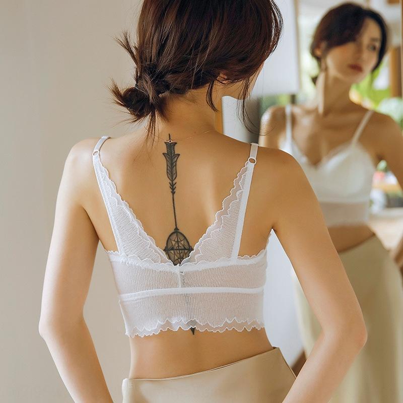 OFdWO 2020 сексуальной грудь задней базы эластичного все соответствует новым анти-экспозиция женщин кружева жилет жилет верхней одежды обернуть кружева