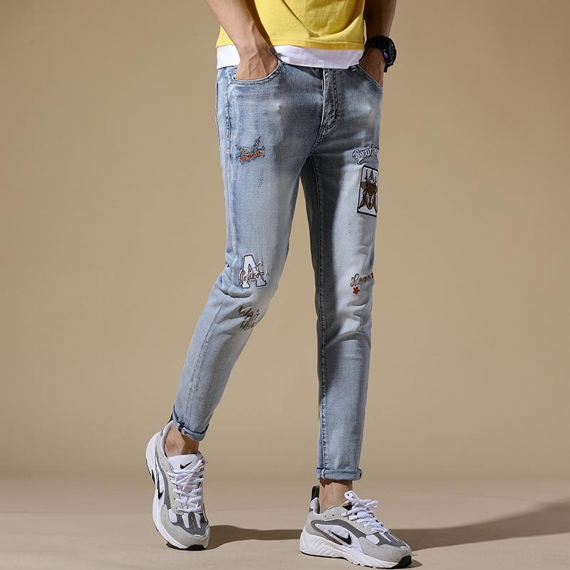 Hellfarbig bestickt High-End-Jeans für Junge Boutique Männer geerntete enge Jeans enge Hosen schmal geschnittene dünne Hosen des koreanischen Männer strecken