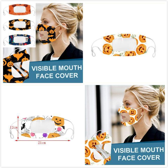 Trasparente maschera viso di Halloween Labbra Lingua antipolvere fendinebbia maschere Sordi lettura Bocca riparo della finestra regolabile riutilizzabile lavabile