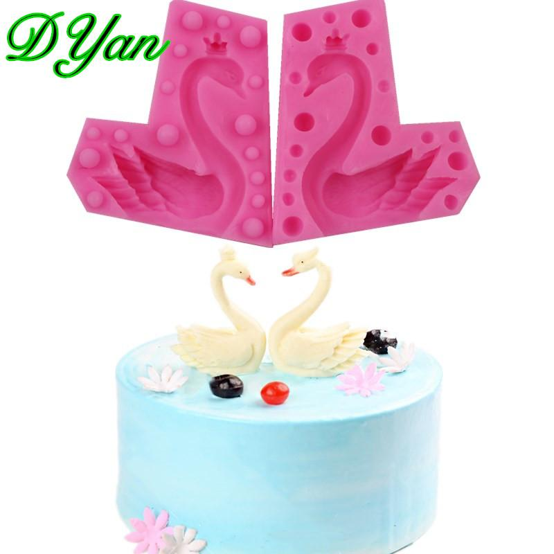 3D Wearing Crown Swan Fondant Cake Silicone Mold Chocolate Mold DIY Cake Baking Decoration Tool