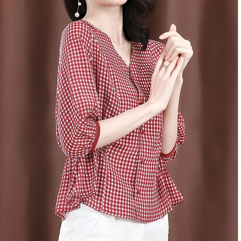 NKv8i T8lIl camisa do sentido xadrez estilo verão de Mulheres 2020 cortada projeto seda manga e nicho de luz estilo de Hong Kong maduro seda amoreira