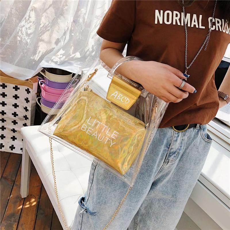 2pcs / set transparente mujeres de los bolsos de gran capacidad de PVC Bolsas de cadena sólido brillante de la manera Pequeña impresión de la letra del bolso de embrague
