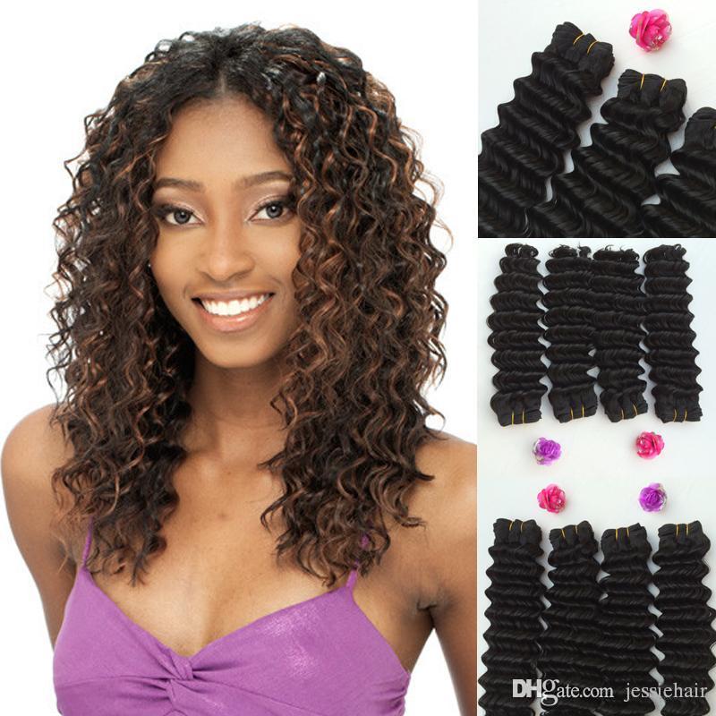 Nuova Onda profonda Curl tessitura trama dei capelli capelli umani Mix Futura fibra sintetica mescolata capelli ricci Weave Extension