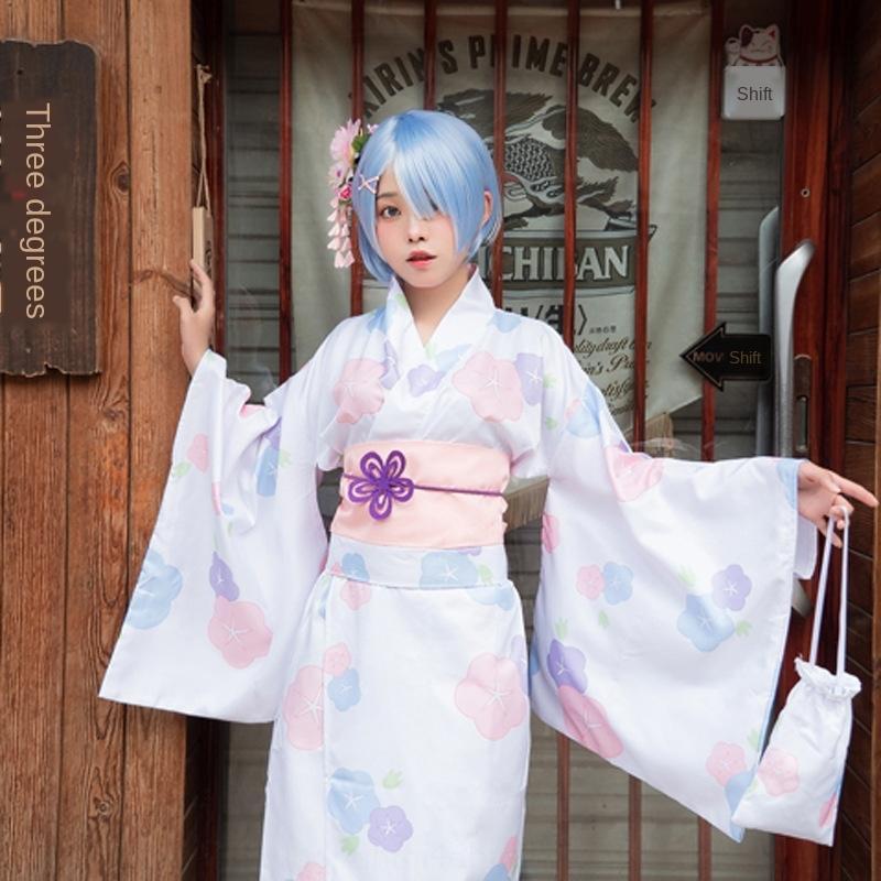rfL2n Nueva Lyme bata de flores ropa de mujer cosplay Albornoz flor kimono de verano sacrificio Lamu kimono ropa sacrificio de Lyme Kui