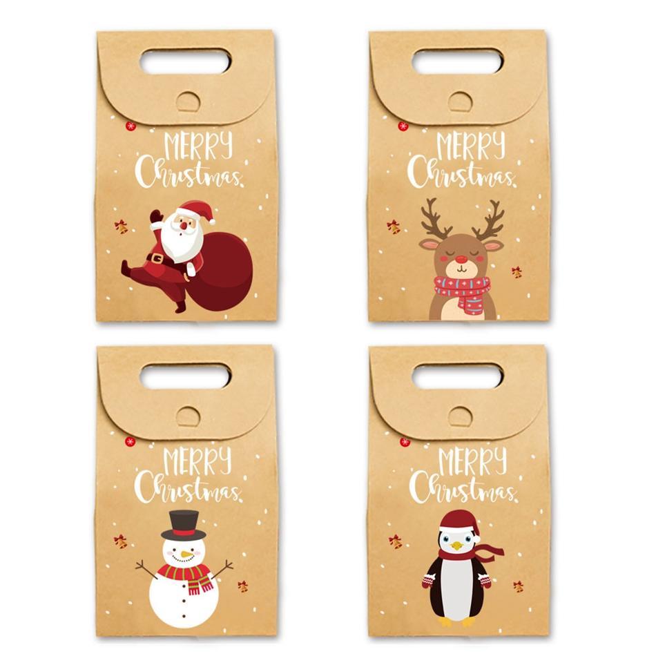 Weihnachtsgeschenk Taschen Weihnachten Vintage-Packpapier-Süßigkeit-Kasten-Partei-Geschenk-Beutel verpacktes Paket-Dekoration-Partei-Bevorzugung Supplies Sea Shipping LJJP427