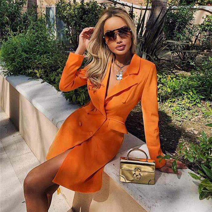 Womens Designer Solid Color Blazers Slim Neck Lapel Bureau Vêtements Lady Automne Hiver Femmes Manteau double boutonnage