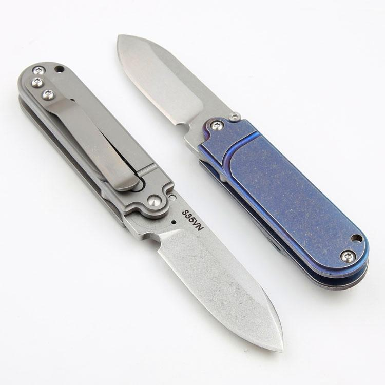 Promotion Mini Small EDC Pocket Folding Knife S35VN Stone Wash Blade CNC TC4 Titanium Alloy Handle Ball Bearing Folding Knives