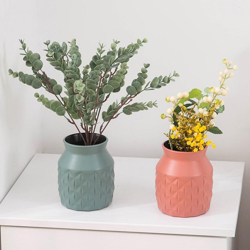 Fiore di plastica della decorazione del vaso casa bianca Vasi imitazione vaso di ceramica Vaso di fiori di plastica decorazioni stile del blu marino Nordic