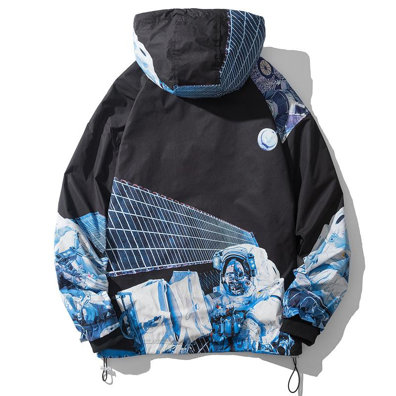 Origional Mens New Style for Autumn and Winter Loose Fashion Brand Windbreaker Men Astronaut Digital Printing Tooling Jacket Mens Large Size