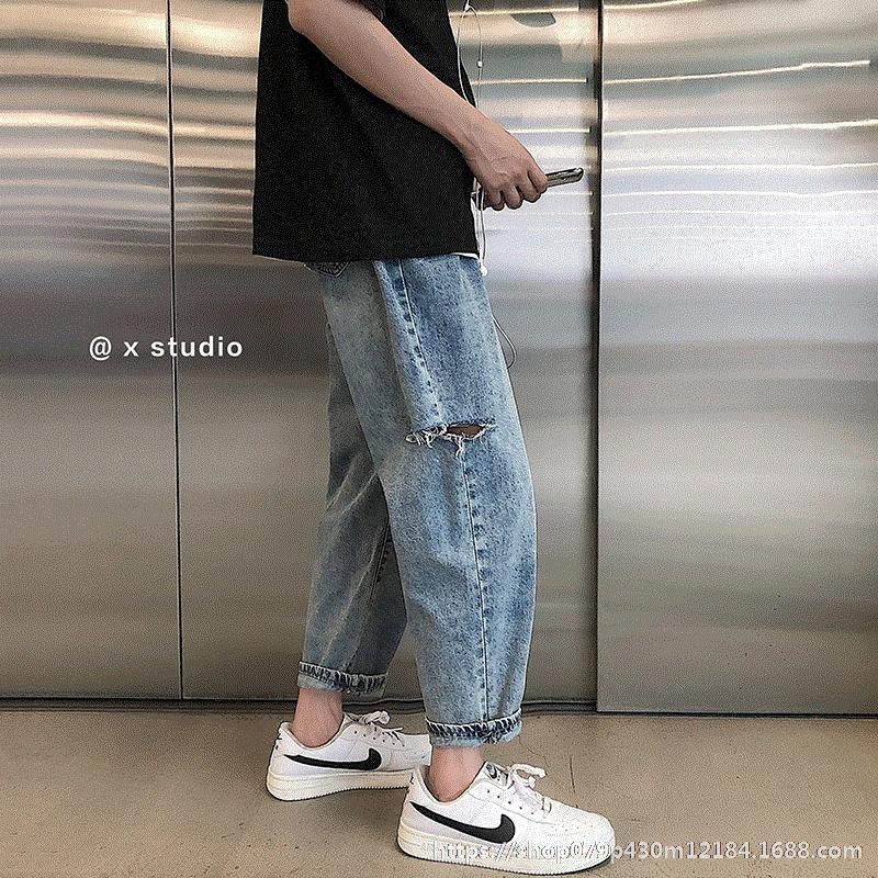 1DCxr calças estilo coreano denim fina reta perder todos os-jogo Calças e calças bf primavera e no verão de 2020 buracos moda mendigo calças dos homens