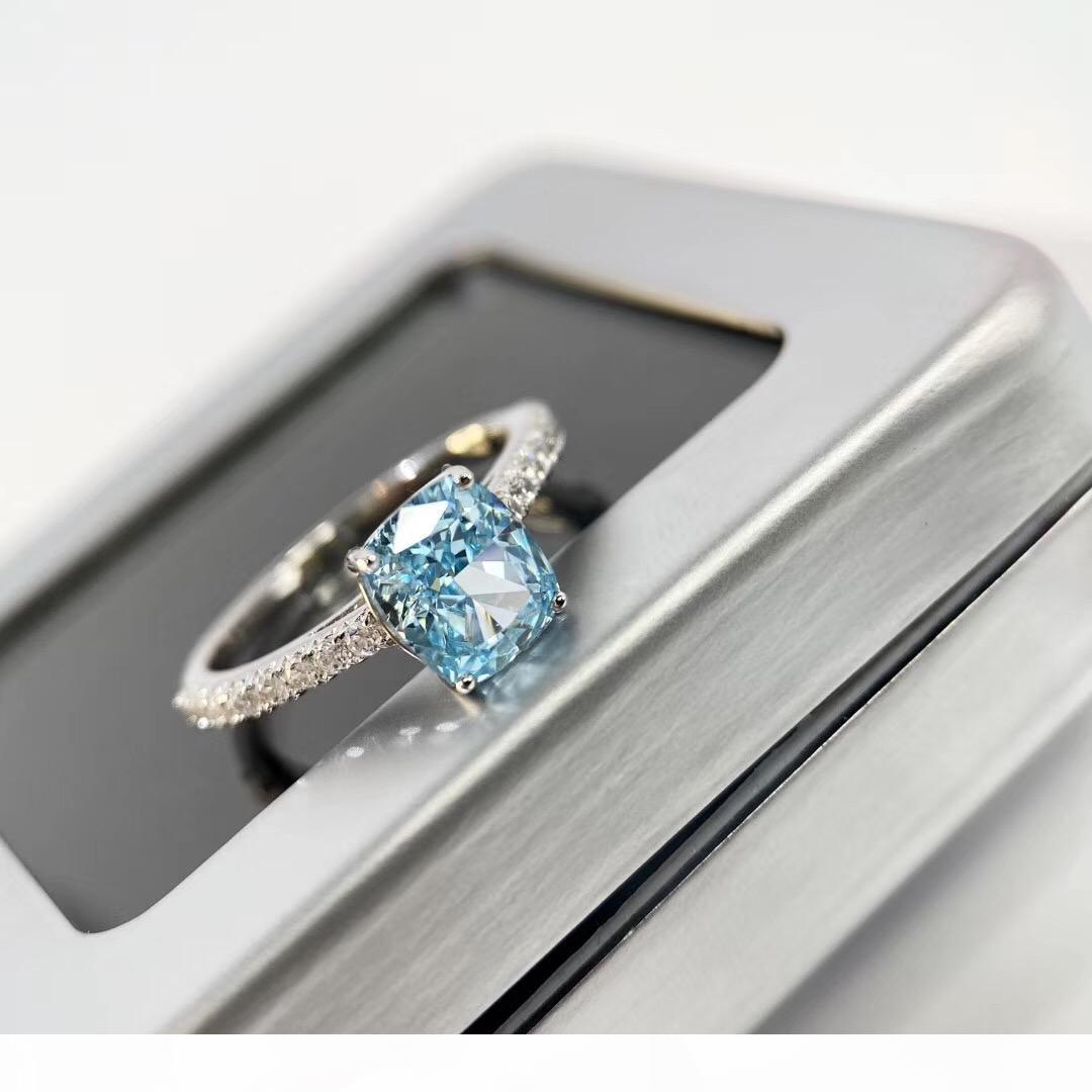 S925 gümüş lüks Novo mavi 1.5oct boyutu büyük kare elmas süslemeleri çekicilik yüzük takı yılbaşı günü hediyesi PS6424