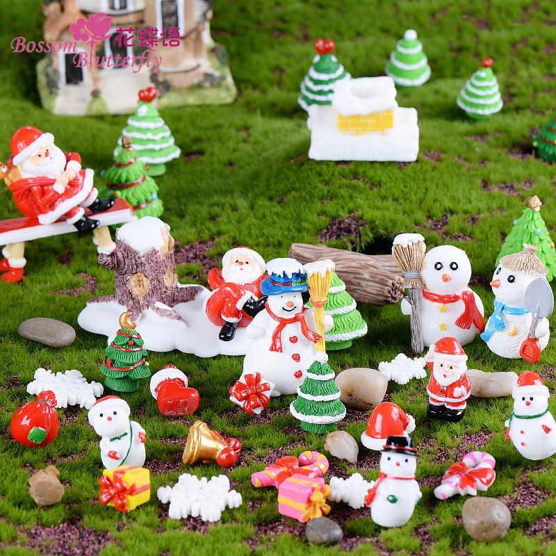 Рождество Resin Crafts Санта Костыль подарков украшения сада украшения Миниатюрный завод Микро Пейзаж Бонсай Статуэтки DIY Рождественский декор