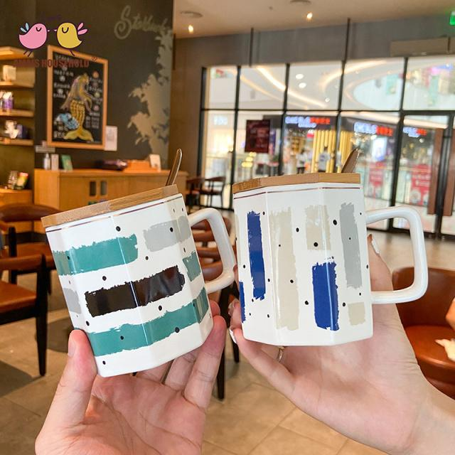 310ml Fresh Colorful Stripe Wooden Cover Polygon Coffee Cups Drink Mug with Spoon