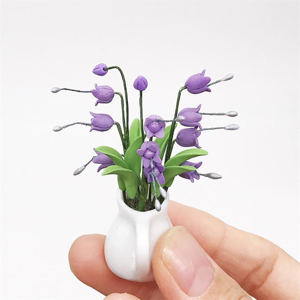 High Quality Cute Mini Dollhouse Miniature Green Plant Flower in Pot Fairy Garden Accessory Play Toy Kids Toy Gift Z0306