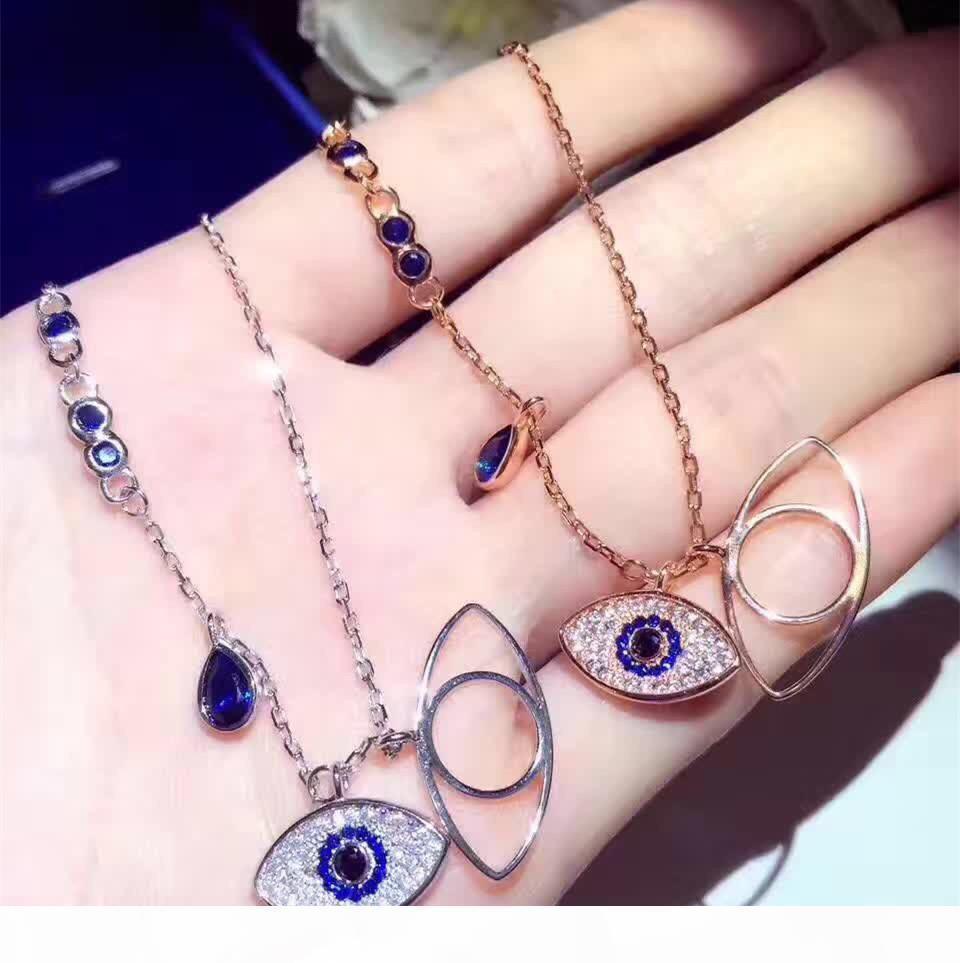 Famous Brand Design Double Blue Evil Eyes Short Necklace For Women Gold Color Cubic Zirconia Charm Feminino Bijuterias zk40