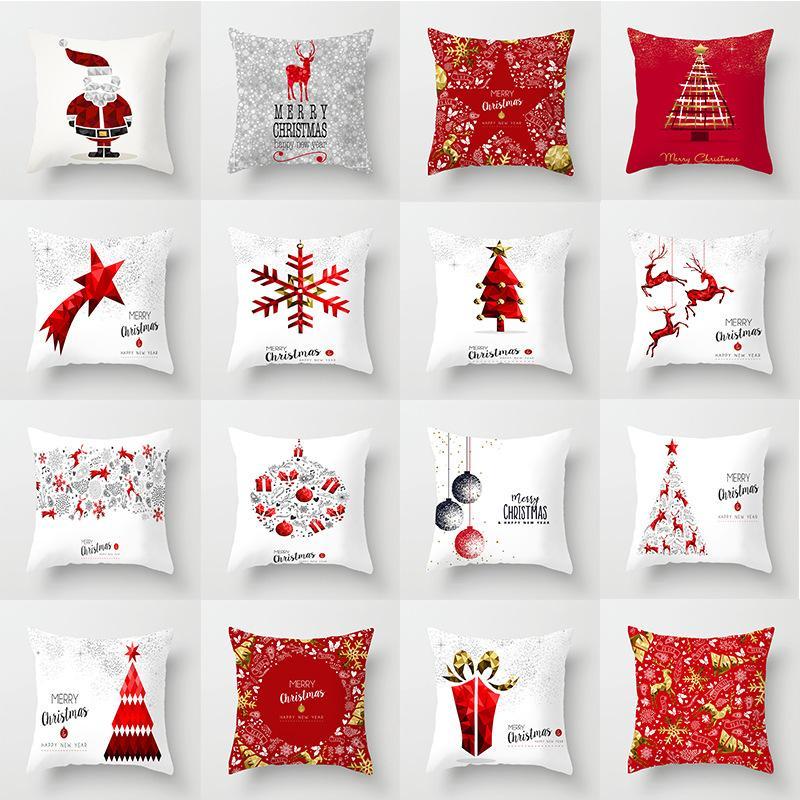24 Stiller Merry Christmas Yastık Kış Dekor Mikro fibe yastık yüzleri noel Koltuk Yastık Kılıfı Yastık Kılıflar 45 * 45 cm yukarda atın Kapaklar