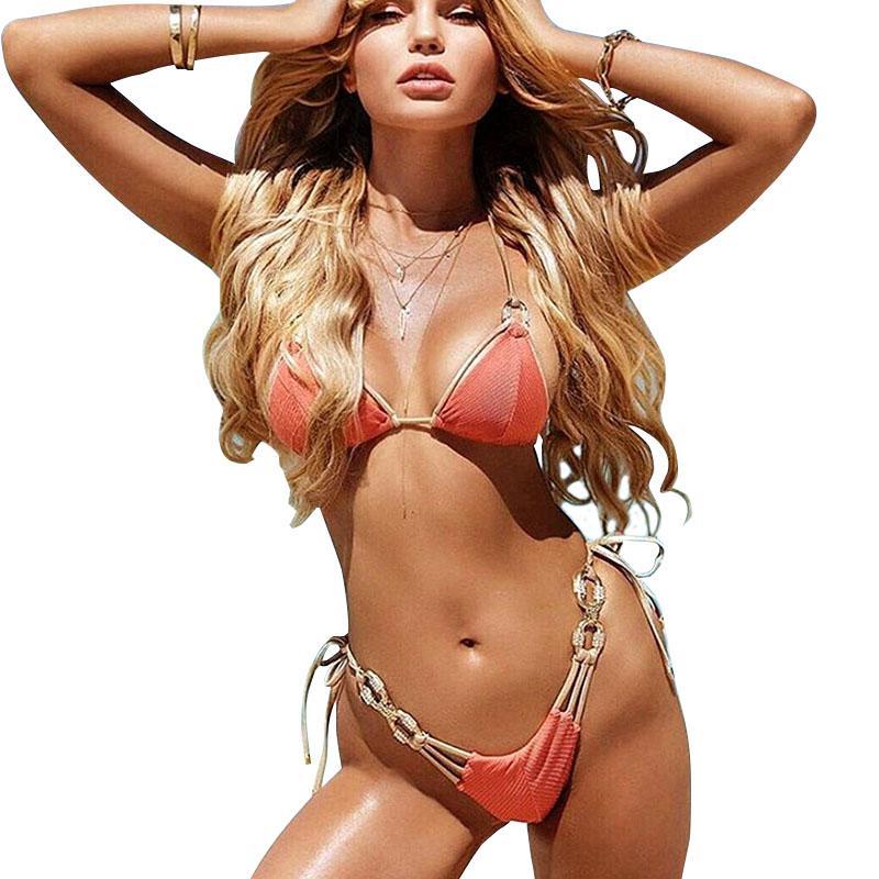 Damas diamante Bikinis Set atractivo empuja hacia arriba los bañadores de desgaste desmontable acolchado traje de baño de cristal de las mujeres Traje de baño de la playa de la manera de 050.530 euros