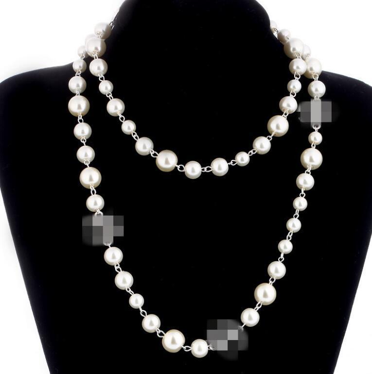 2019 design de la marque longue chaîne Pull Colar Maxi Collier de perles Simulé Fleurs Collier Femme Mode Bijoux Bijoux femme