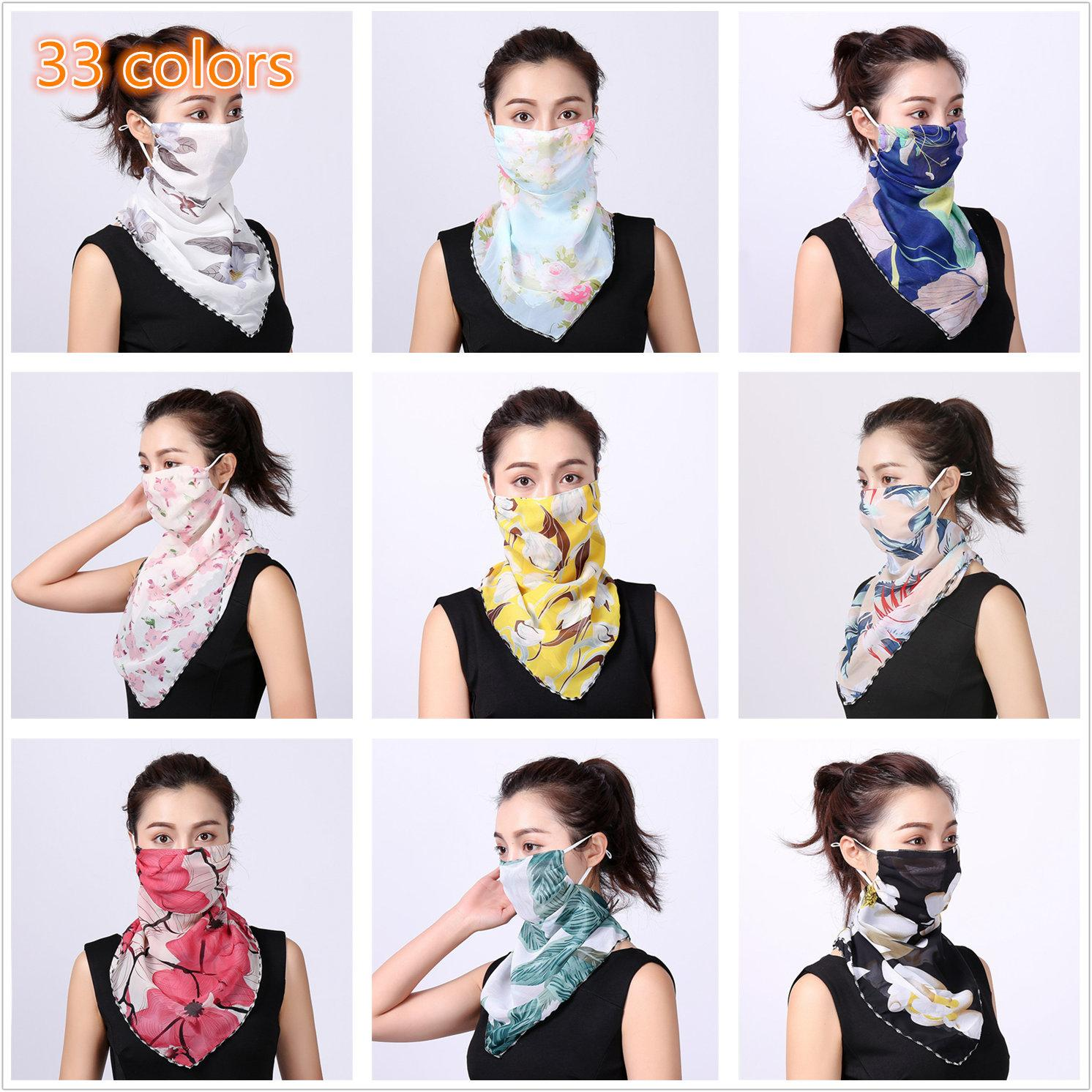 Sunscreen Velo Women Silk Bufanda 2020 Nuevo Cuello Protector Cubierta Cara Mascarilla Fina Riding UV Protección Oído Máscara