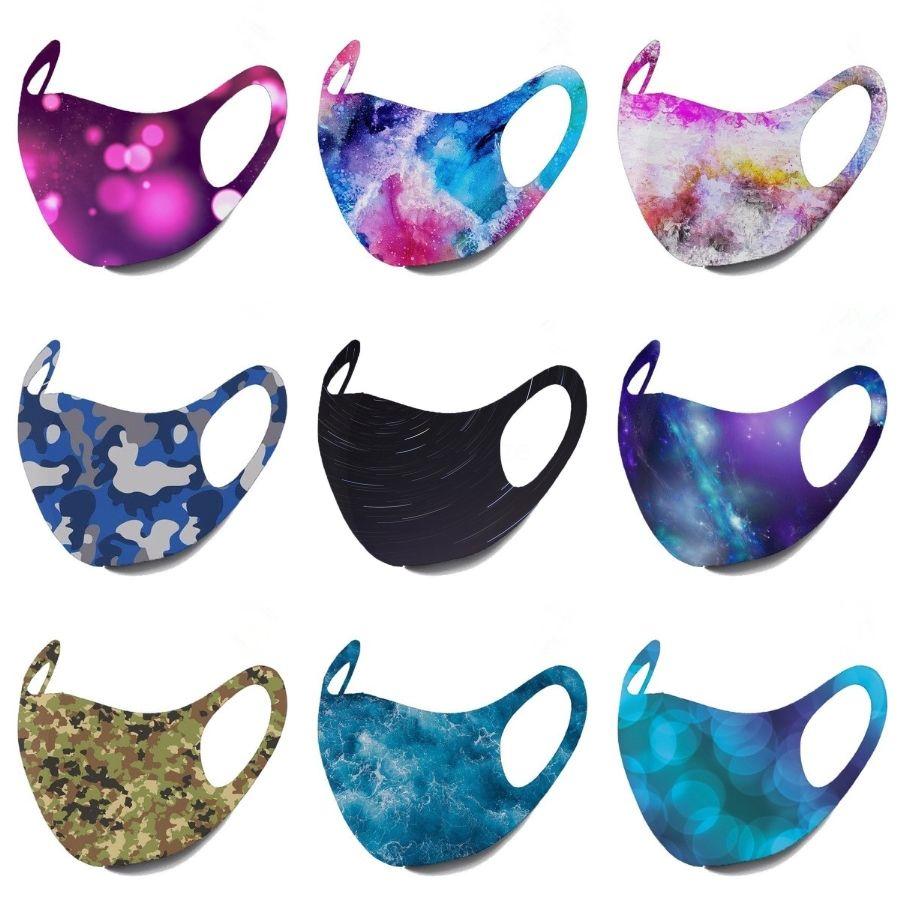 Multifunction Headwrap Women Yoga Sports Mask Button Headbands Wide Turban Summer Protection Cap Colorful Print Elastic Headbands L127FA#994