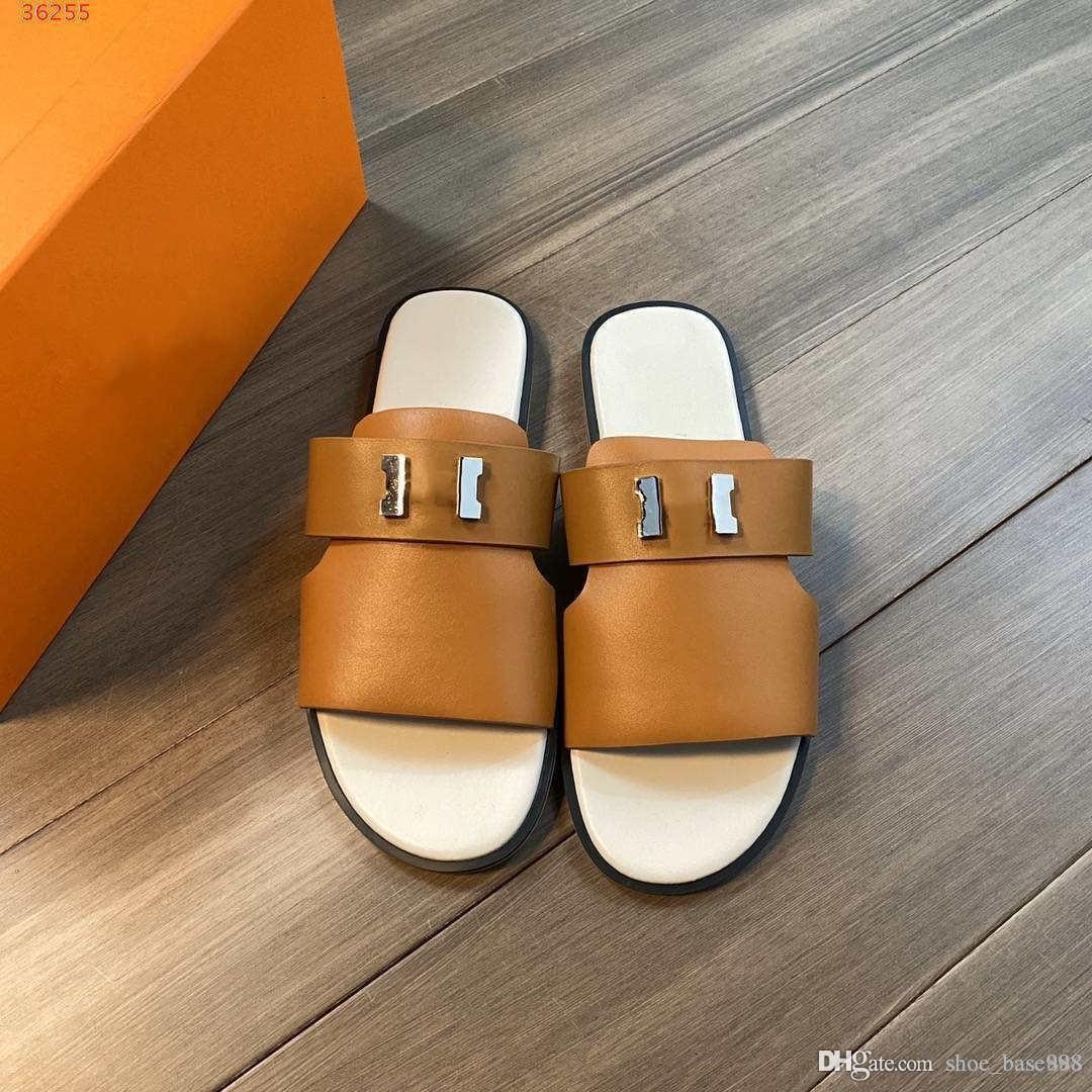 zapatillas personalizadas nueva gama alta genuino zapatos de los hombres de cuero Negro marrón oscuro y de alta calidad y decora el hardware deslizador de los hombres verdes