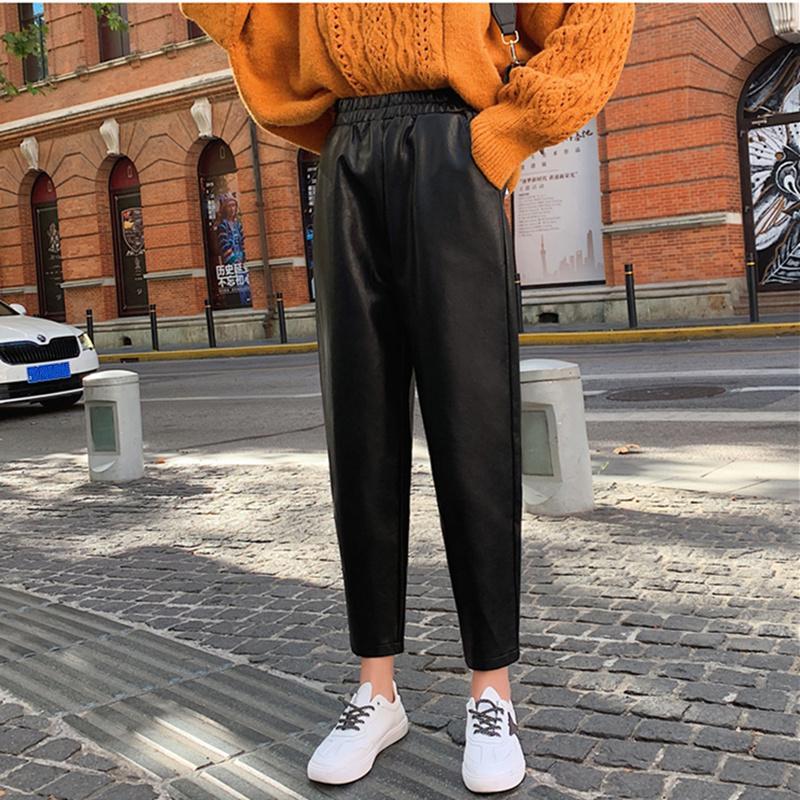 2020 Sonbahar Kış Siyah Faux Deri Kadın Pantolon Elastik Bel Kadın PU Harem Pantolon Streetwear Chic Pantolon Artı boyutu Yeni