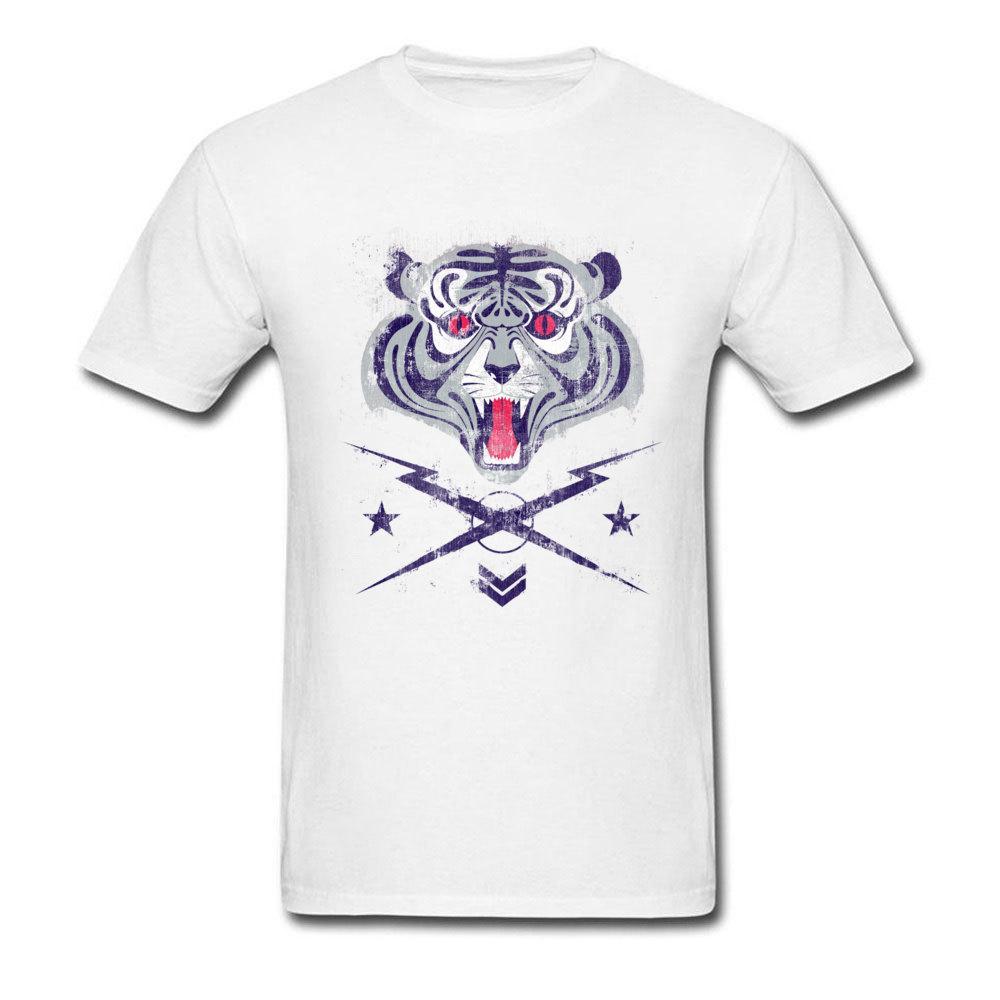 Tiger 100% Baumwolle Herren Kurzarmshirts Tees Tier gedruckt auf T Shirts Thanksgiving Day-Qualitäts-Männer T-Shirts Tops / T-Shirts