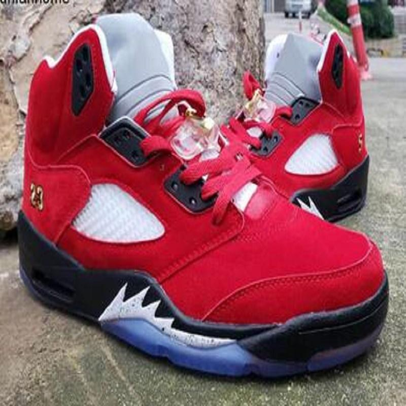 Baratos Nueva Sala de Trofeos X 5 Hielo Azul Rojo universitario para hombre zapatos de baloncesto de las zapatillas de deporte de la bola 5s Cestas De Zapatos zapatos para hombre Formadores