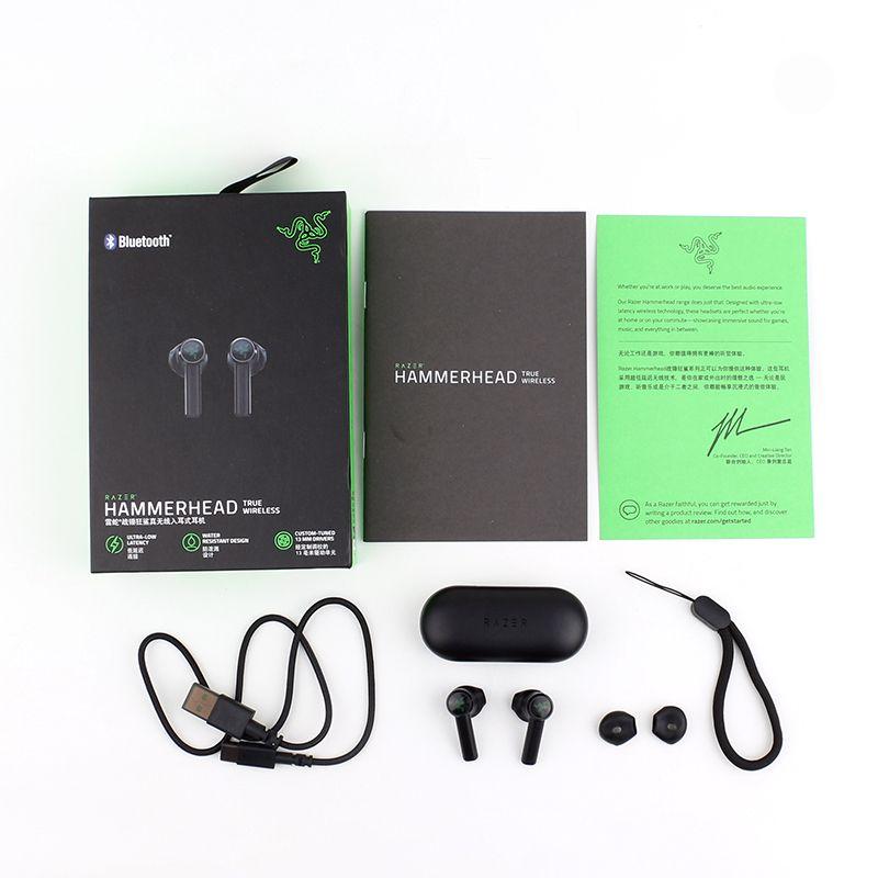 Razer Hammerhead verdadera Auriculares inalámbricos Bluetooth Auriculares 5.0 TWS IPX4 en la oreja micrófono incorporado de encendido / apagado del auricular Auriculares