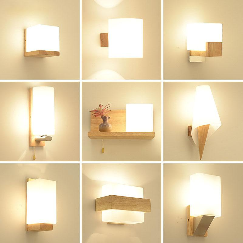 2020 Modern Wooden Wall Lights Bedroom Bedside Wall Lamps Sconce For Home Living Room Kitchen Balcony Decor Glass Art Fixtures From Micandy 41 85 Dhgate Com