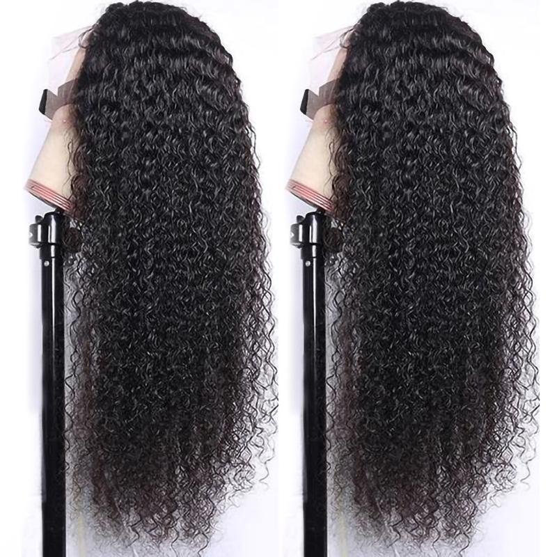 Aircabin 30 Inch HD 13x6 Type T Lace Wigs Brazilian Kinky Curly Wave Remy Human Hair Deep Part Wigs For Black Women