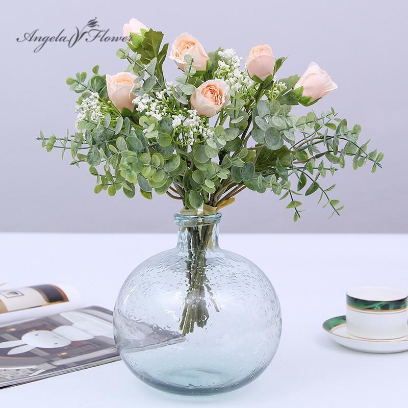 Angela çiçek Suni dropshipping ev düğün yeşil bitkiler için buket küçük lotus bebekler nefes çiçek dekor gül