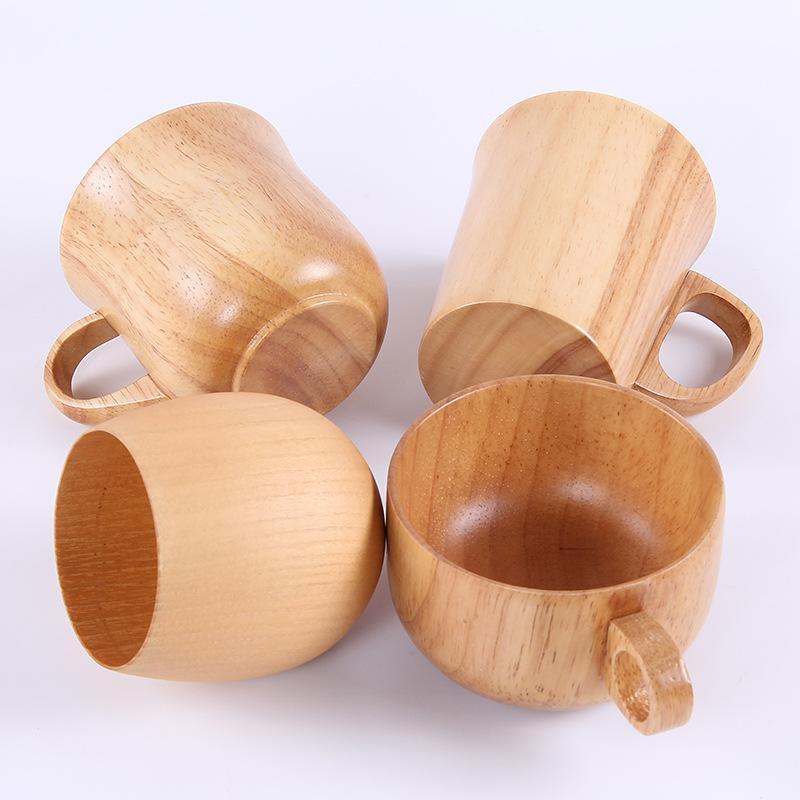 Alcol in legno tazza della tazza per la barra domestica Caffè Tè Birra Succo di frutta Latte tazza di tè anti-scottatura singola tazza di acqua nell'orecchio WX9-1857