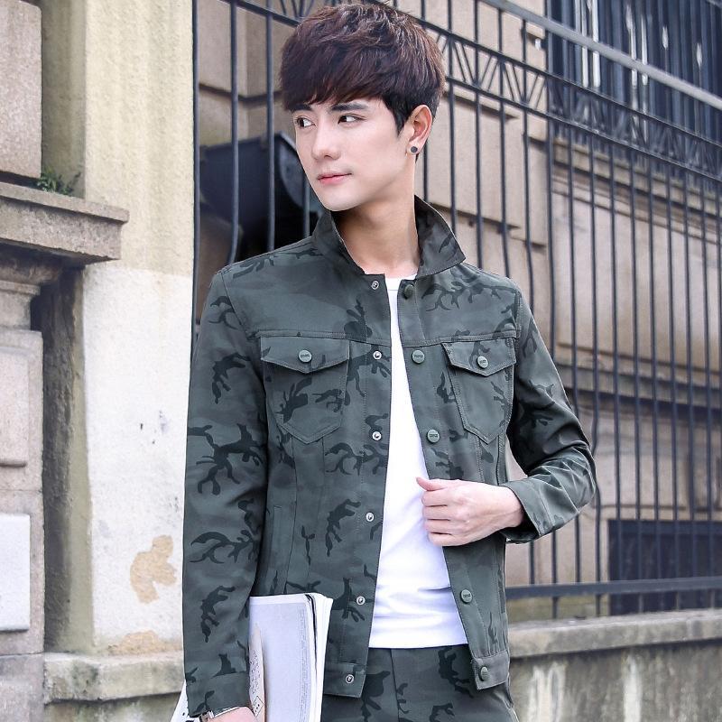 Buf52 Primavera ficar homens moda jaqueta Autumn colar personalidade da marca camuflagem moda magro jaqueta juventude all-jogo 2020 dos homens