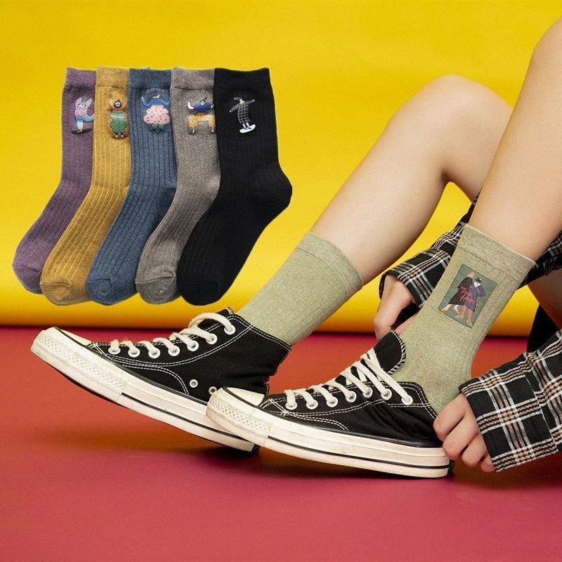 Koreanischen Stil Harajuku 3D gedruckt Frau Spaß Frauen-Unterwäsche Unterwäsche Karikatur Comic-Straßenart und weise Hip-Hop-Skate 0XGc # Socken Charakter Mädchen
