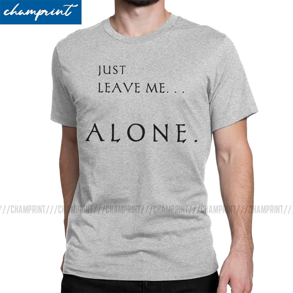 Deixe-me sozinho Introvertido homens camisetas novidade camisetas de manga curta T-shirt do pescoço de grupo Pure roupas de verão de algodão