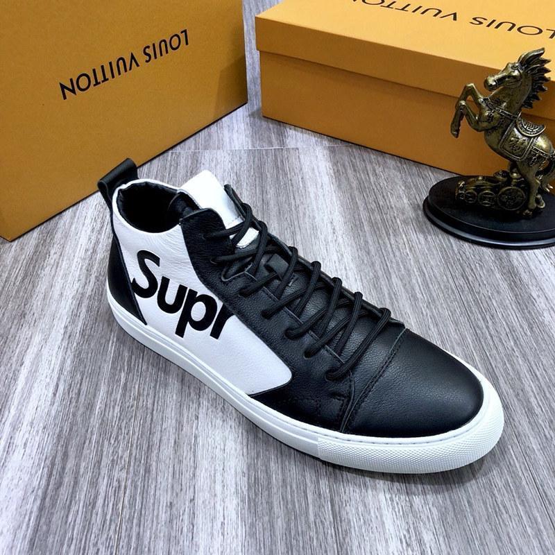 2021x Outono Moda Couro Men '; s Shoes alta para ajudar confortáveis sapatos casuais, sapatos da moda alta -End Outdoor Sports, caixa original