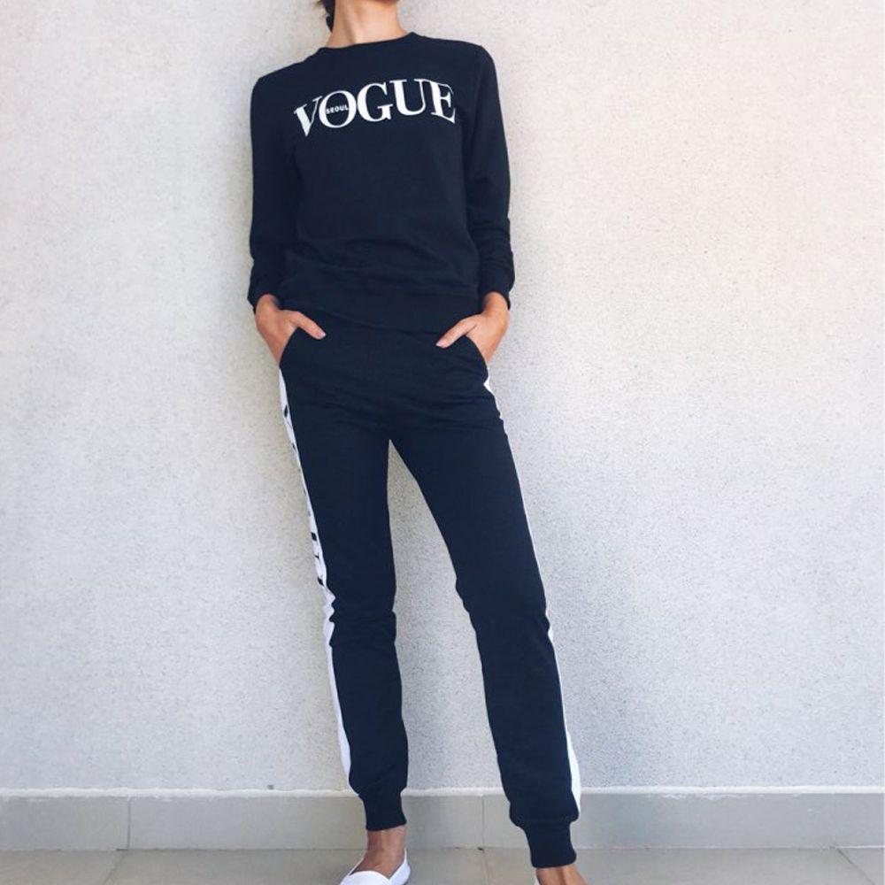 Новые женщины 2 шт Одежда Set Повседневная мода Vogue Толстовка + Длинные брюки костюмы для женщин Hoodie костюм fz0876