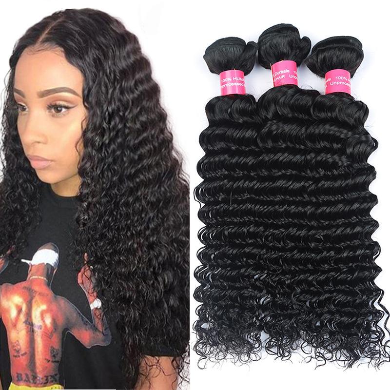 9А малазийская глубокая волна волосы девственница 3 Связки малазийского человеческих волос Weave Связки предложения Необработанного малазийский Девы волос Deep Wave Extensions