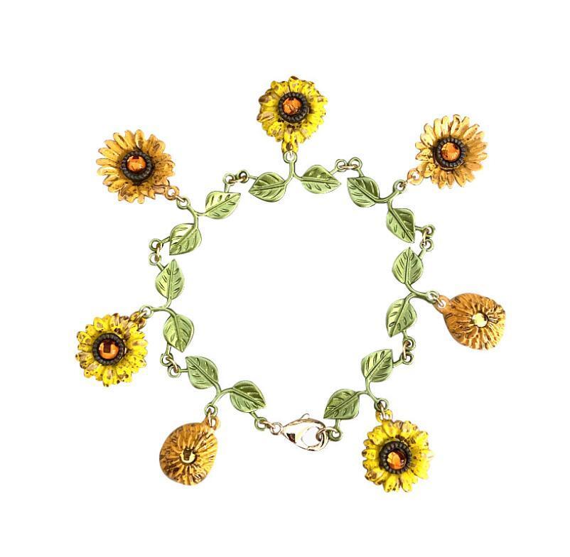 Großhandel Weinlesearmband Sonnenblume-Blumen-Armband-Legierung backen Lack Frauen Armband Schmuck