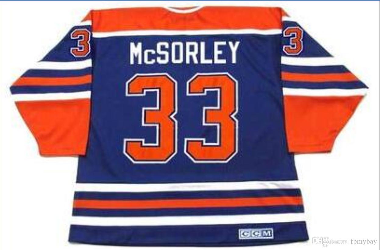 Özel Erkekler Gençlik kadınlar Vintage # 33 MARTY McSorley Edmonton Oilers 1987 CCM Hockey Jersey Boyut S-5XL veya özel herhangi bir ad veya numara