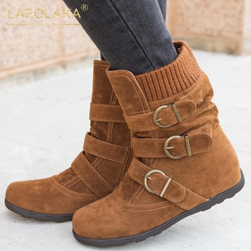 Lapolaka 2020 Горячей Продажа Большого размер 43 ботинок снег Женщина обуви Растущих Heels застегивать Comfy Пряжка Decorathion ботильоны