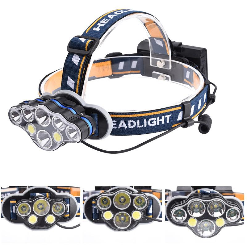 8LED Headlamp Rechargeable T6 COB 8 Modes Headlight Flashlight with White Red Lights Zoomable Waterproof for Camping Cycling Running Fishing