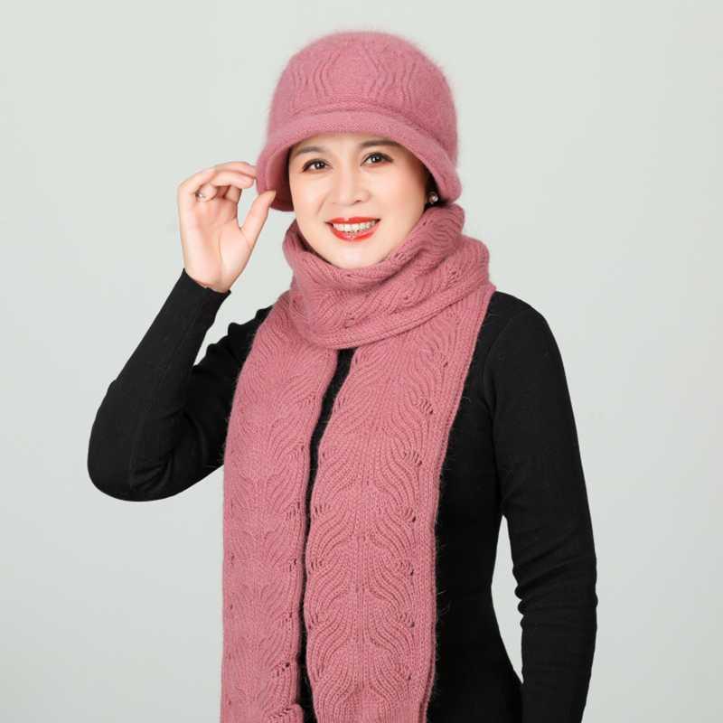2020 mujeres del invierno del sombrero de la bufanda de punto series de calentamiento piel gruesa Sombreros Mujer sombrero bufanda larga Conjunto mamá a prueba de viento Snow Cap Gorros