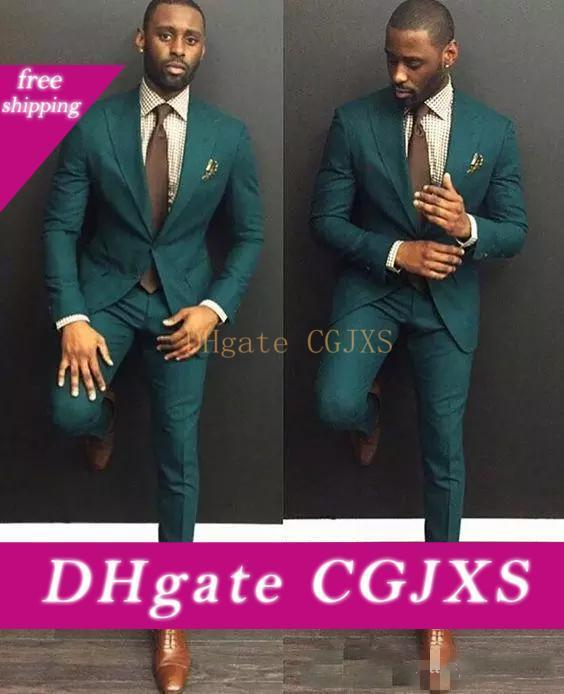 Hot Selling Green Wedding Tuxedos Custom Made Slim Fit Mens Business Suit Jacket Pants Men S Spring Wedding Tuxedos Groom Clothing
