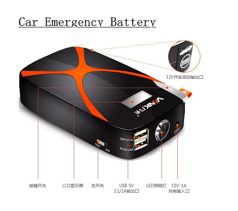 A Grade Macromolecule Rare Earth 9000mAh Automobile Fire Maker Emergency Jump Leads Battery Starter Portable Power Bank 2 USB